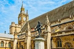 Cromwell monument and Big Ben in London Royalty Free Stock Image