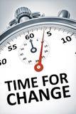Cronómetro con el tiempo del texto para el cambio Fotografía de archivo