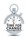 Cronómetro con el tiempo del texto para el cambio Imagen de archivo