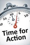 Cronómetro con el tiempo del texto para la acción Imágenes de archivo libres de regalías