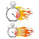 Cronómetro con la llama del fuego Imágenes de archivo libres de regalías