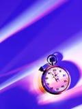 Cronómetro de los deportes en un fondo encendido azul y rosado Foto de archivo libre de regalías