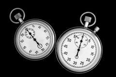 Cronómetro dos en negro foto de archivo libre de regalías