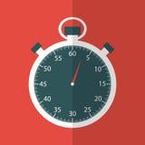 Cronómetro en diseño plano en fondo rojo Imagenes de archivo