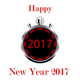 Cronómetro en el fondo blanco con Feliz Año Nuevo de los números 2017 Foto de archivo libre de regalías
