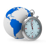 Cronómetro y globo en el fondo blanco Imágenes de archivo libres de regalías
