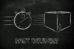 Cronómetro y paquetes, concepto de entrega rápida Imagenes de archivo