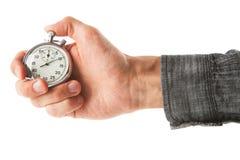 Cronômetro análogo no fundo branco foto de stock