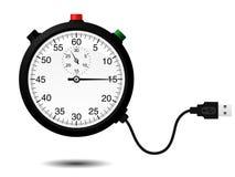 Cronômetro com cabo do USB ilustração stock