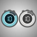 Cronômetro eletrônico de Digitas Temporizador 10 segundos isolados no fundo cinzento fotografia de stock