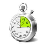 Cronômetro mecânico com segmento verde. Vetor. Imagem de Stock