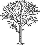Crone da árvore do vetor feito de trajetos eletrônicos ilustração stock