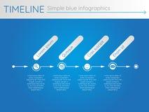 Cronología azul simple 24, infographics Imagen de archivo libre de regalías