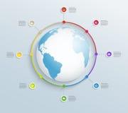 Cronología circular abstracta con los iconos del mapa del mundo y del negocio ilustración del vector