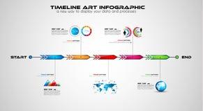 Cronología con los elementos del diseño de Infographics para los folletos, ilustración del vector