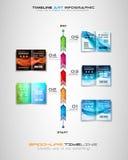 Cronología con los elementos del diseño de Infographics para los folletos, exhibición de datos stock de ilustración