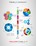 Cronología con los elementos del diseño de Infographics para los folletos, exhibición de datos libre illustration