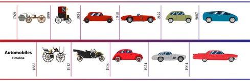 Cronología de los automóviles Foto de archivo libre de regalías
