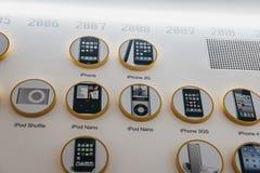 Cronología de los productos de Apple en una pared dentro del museo de Apple en Praga, República Checa fotografía de archivo