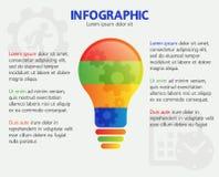 Cronología de pensamiento del negocio, concepto, bandera de las opciones Diseño creativo moderno del infographics de la bombilla  Imágenes de archivo libres de regalías