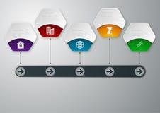Cronología del infographics del ejemplo del vector Hexágonos de papel libre illustration