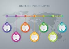 Cronología del infographics del ejemplo del vector siete opciones Foto de archivo libre de regalías