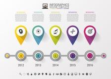 Cronología Infographic con los indicadores y texto en estilo moderno Modelo del diseño del vector Imagen de archivo libre de regalías