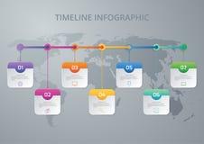 Cronología infographic del ejemplo del vector de siete opciones Fotos de archivo