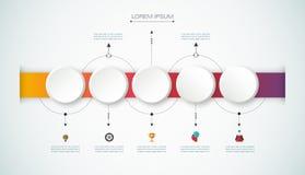Cronología infographic del vector con la etiqueta del papel 3D, fondo integrado de los círculos libre illustration