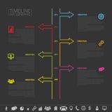 Cronología Infographic Plantilla del diseño del vector con los iconos Fotos de archivo libres de regalías