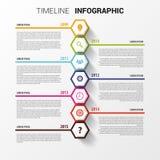 Cronología Infographics Plantilla hexagonal del diseño Vector Foto de archivo libre de regalías