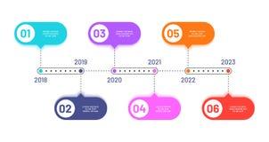 Cronologia di affari 6 punti trattati, flusso di lavoro orizzontale che elabora diagramma Diagramma di flusso di vettore di Infog royalty illustrazione gratis