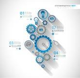 Cronologia di Infographic con il concetto del meccanico dell'ingranaggio Fotografia Stock Libera da Diritti