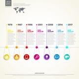 Cronologia Infographic Con l'insieme del modello di progettazione di vettore delle icone Fotografia Stock Libera da Diritti