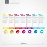 Cronologia Infographic Con l'insieme del modello di progettazione di vettore delle icone Fotografie Stock
