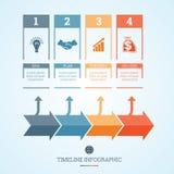Cronologia Infographic per quattro posizioni Immagine Stock