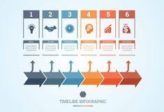 Cronologia Infographic per sei posizioni Immagini Stock Libere da Diritti