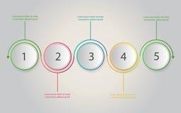 Cronologia Infographics Il concetto con 5 punti, numero di affari sceglie illustrazione di stock