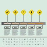 Cronologia piana del segnale stradale con l'insieme delle icone Immagine Stock