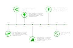 Cronologia semplice di Infographic - verde Immagini Stock