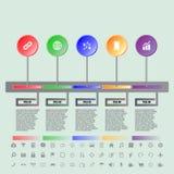 Cronologia variopinta dei bottoni con l'insieme delle icone Fotografia Stock Libera da Diritti