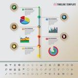 Cronologia variopinta dei bottoni con l'insieme delle icone Immagini Stock Libere da Diritti