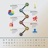 Cronologia variopinta dei bottoni con l'insieme delle icone Fotografia Stock