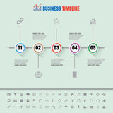 Cronologia variopinta dei bottoni con l'insieme delle icone Immagini Stock