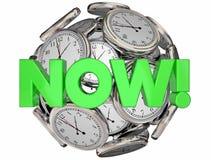 Cronometra agora esta palavra urgente do tempo do momento Fotografia de Stock