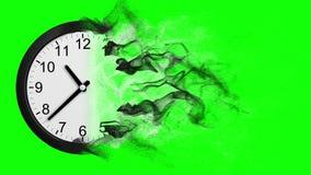 Cronometre a desintegração na tela do verde da poeira video estoque