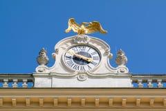 Cronometre a fachada ocidental do palácio de Schonbrunn, Viena, Áustria Fotografia de Stock Royalty Free