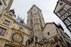 Cronometre na rua du Gros Horloge, Rouen, Haute-Normandy, França Imagem de Stock