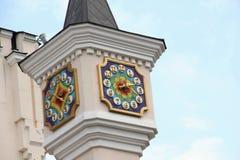 Cronometre no pináculo do teatro do fantoche em Kiev, Ucrânia Fotos de Stock
