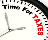 Cronometre para a mensagem dos impostos que mostra a tributação devida Imagens de Stock